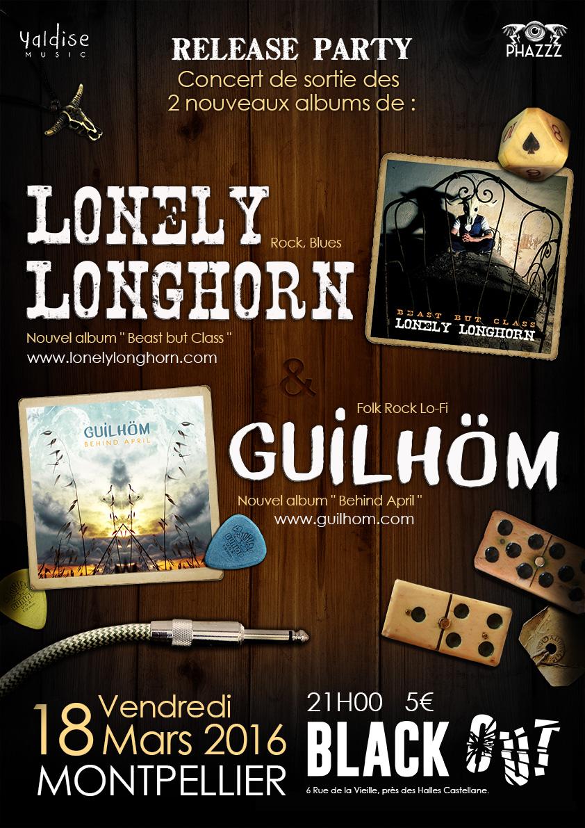 Concert de sortie des albums de Guilhöm et Lonely Longhorn